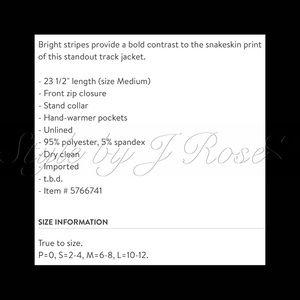 Pam & Gela Jackets & Coats - NWT's Pam & Gela Python Track Jacket